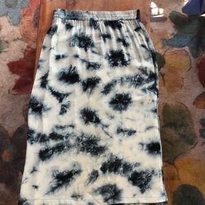 Zara Flowy Tie-dye Midi Skirt